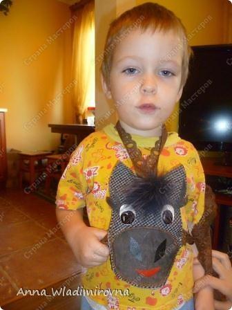 """Мастер-класс участвует в конкурсе """"Лошади бывают разные"""" http://stranamasterov.ru/node/612099 В детском саду попросили сделать """"вожжи"""" для игр на участке. Просьба была ткая - овал на грудку, веревочка через шею и две веревочки сзади, чтоб второй малыш держал. Но!!! мы простых путей не ищем...вот сотворились десять лошадок...почему то совсем не похожих друг на друга... Надеюсь (очень-очень))) моя идея пригодится еще кому-нибудь! фото 7"""