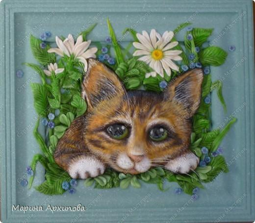 Панно котенок в цветах поэтапно