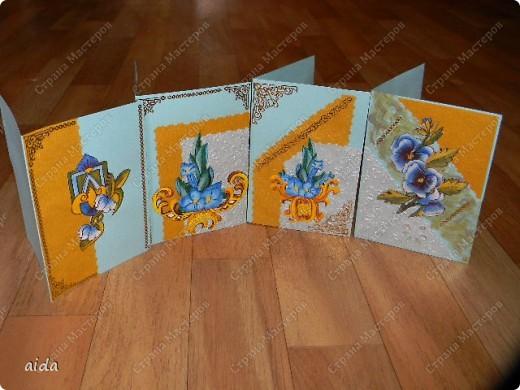 конечно, название я придумала пафосное)))  это мой первый опыт в изготовлении серии открыток...весь материал удалось подобрать в новом магазине художественных товаров, даже карты с объемной аппликацией фото 8