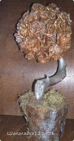 Дерево сделано из природного материала.Розочки сделаны из кленовых листьев.Тонированы золотой краской из баллончика.Наклеены на шар сухого оазиса,приклеены на горячий клей.Вазон оклеен корой сосны с добавлением мха.Внутри вазона цемент для устойчивости дерева.  фото 1