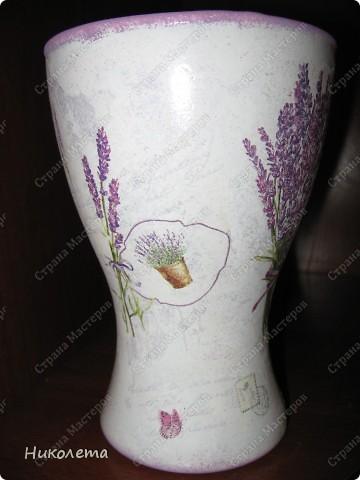 Ну вот и я добралась до лаванды, ваза стеклянная, (была прозрачной) фото 2