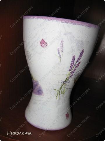 Ну вот и я добралась до лаванды, ваза стеклянная, (была прозрачной) фото 3