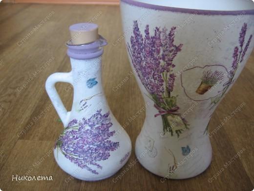 Ну вот и я добралась до лаванды, ваза стеклянная, (была прозрачной) фото 12