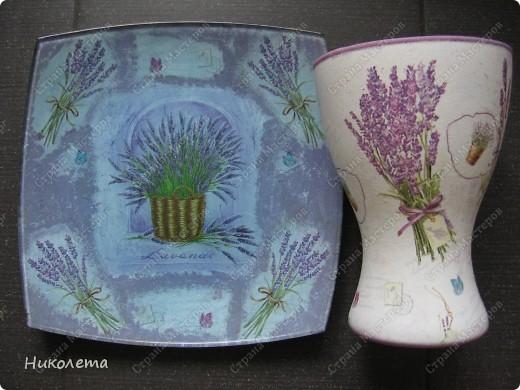 Ну вот и я добралась до лаванды, ваза стеклянная, (была прозрачной) фото 11