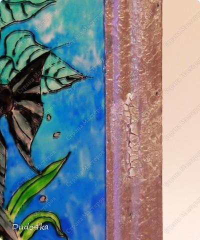 Витражная роспись для любителя рыбок))))  Рамка декорирована акриловыми красками и микрофацетным лаком, для создания декоративных трещин. фото 3