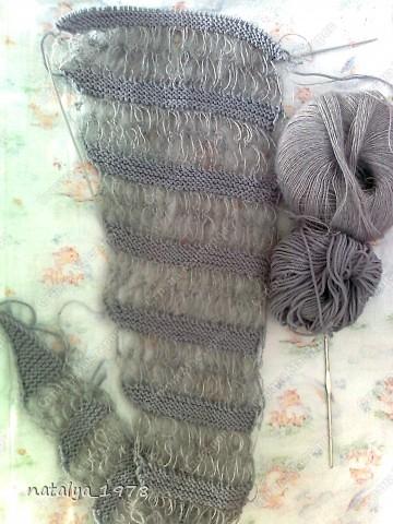 Вот и мой шарфик,принимайте.Спасибо Ирине-Голубке за Презент,если бы не она,я бы еще долго думала, что связать в комплект к моему берету . фото 3