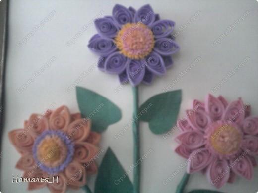 Заразила маму квиллингом :) Очень ей цветочки нравится, решила и сама попробовать, что это такое . Понравилось. И вот как получилось :) По моему довольно не плохо для первого раза :)) фото 3
