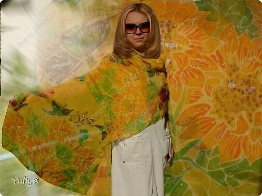"""платье """"Маки"""", натуральный шелк, атлас, свободная роспись по ткани  фото 3"""