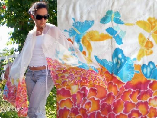 """платье """"Маки"""", натуральный шелк, атлас, свободная роспись по ткани  фото 2"""