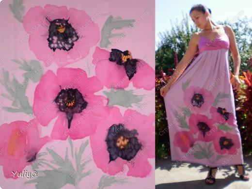 """платье """"Маки"""", натуральный шелк, атлас, свободная роспись по ткани  фото 1"""
