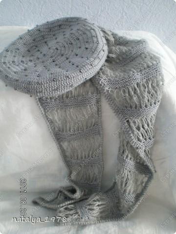 Вот и мой шарфик,принимайте.Спасибо Ирине-Голубке за Презент,если бы не она,я бы еще долго думала, что связать в комплект к моему берету . фото 5