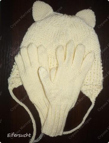 Комплект шапка-кошка и перчатки
