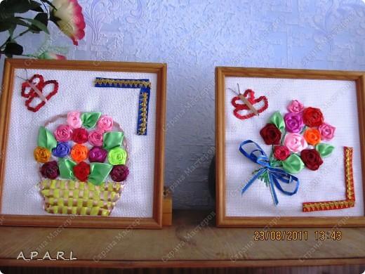 Цветы из ленточек( 2 картины) фото 1