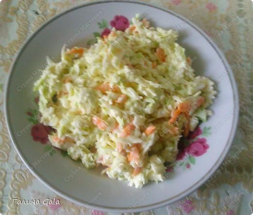 Салат очень простой в приготовлении и вкусный, я делаю его довольно часто.  Капусту нашинковать, морковь натереть на крупной терке, перемешать, помять немного руками. В идеале моркови должно быть в два раза больше чем капусты, но у меня наоборот, т.к. морковь не очень люблю.  Затем приготовить омлет( 3-4 яйца, стакан молока) и добавить его в капусту с морковью, перемешать, посолить, добавить немного чесноку( натереть на мелкой терке или в чеснокодавилке) и заправить майонезом. На фото к сожалению не видно, что там добавлен омлет