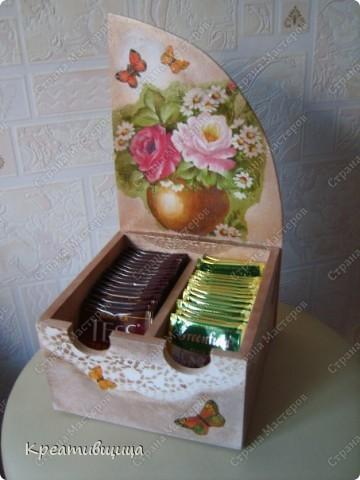 Была просто  коробка -стала домиком для чайных пакетиков))) фото 2
