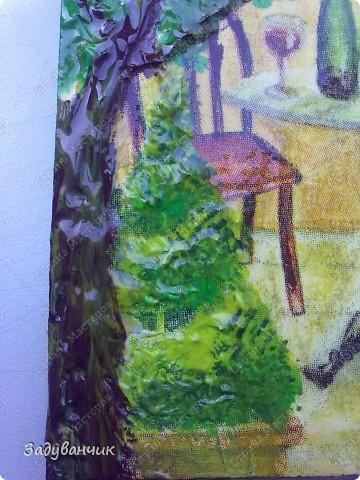 """Декупаж. Ключница номер раз)) Здесь использовала структурную пасту, добавила """"зелени"""", прорисовала некоторые детали фото 5"""