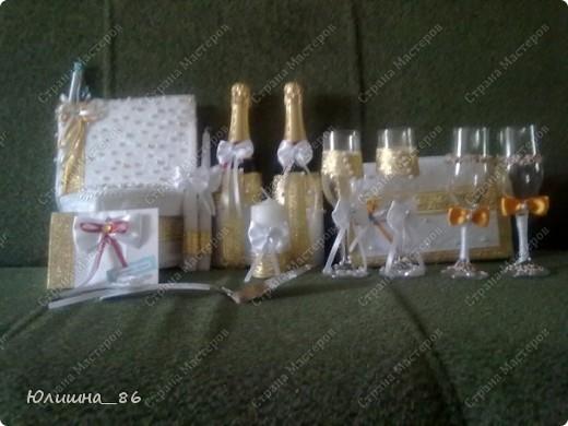практически полный набор свадебных мелочей. решила делать все в бело-золтой гамме.каждый аксессуар является дебютом, все делала  впервые))) фото 1