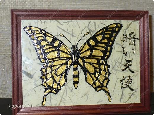 Бабочка нарисована  контурами по стеклу Decola  и Hobby Line, фон бамбуковая бумага.  фото 2