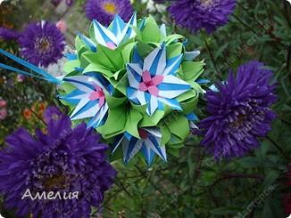"Еще одни цветочки из книги  Livro de Origami Основа кусудама ""Электра"" автор Девид Митчел http://diagramascia.blogspot.com/search/label/Electra http://www.youtube.com/watch?v=_C0TMbyP_No http://kusuda.ru/kusudamas/kusudama-elektra/ фото 30"