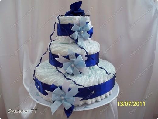 """Вот такой тортик я """"слепила"""" моему крестному сынуле на крестины. фото 1"""