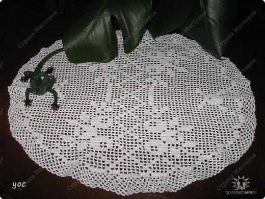 Кругая салфетка. Филейное вязание 