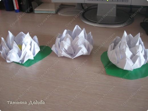 Вот такие лотосы, можно сделать своими руками за пять минут, и украсить ими квартиру на праздник.  фото 1
