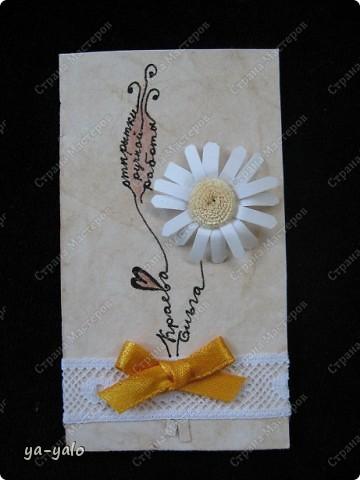 """Эту визитку сделала для участия в заданиии челендж-блога """"Little fun"""", посвященного малым формам скрапбукинга. http://littlefun-by-d.blogspot.com/.  Делаю это в первый раз, поэтому визитка - форма символичная. Знакомлюсь)))) фото 5"""