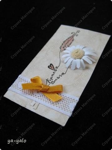 """Эту визитку сделала для участия в заданиии челендж-блога """"Little fun"""", посвященного малым формам скрапбукинга. http://littlefun-by-d.blogspot.com/.  Делаю это в первый раз, поэтому визитка - форма символичная. Знакомлюсь)))) фото 1"""