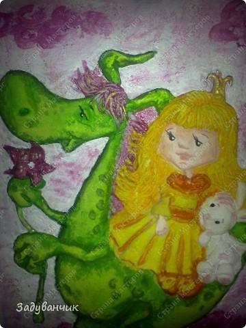 Принцесса и дракоша, панно из теста фото 4