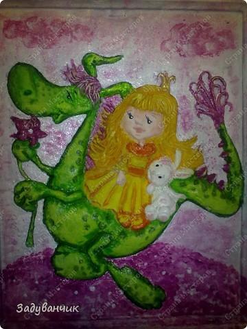 Принцесса и дракоша, панно из теста фото 3