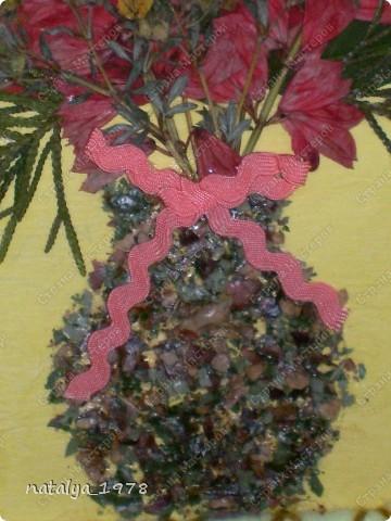 Такой осенний букет сделали с сыном в садик. Рамочку сделали из старой обложки,вырезали и обмотали нитками.Для букета использовали сухие листья и цветы. фото 3