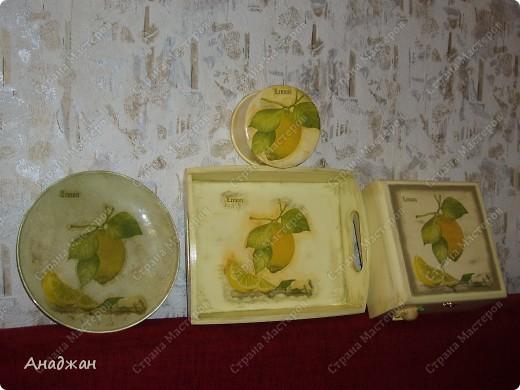 """Набор """"Лимонное наслаждение"""" Основа дерево и стекло. Салфетка. Акриловые краски. Пастель. Фисташковый лак. фото 1"""