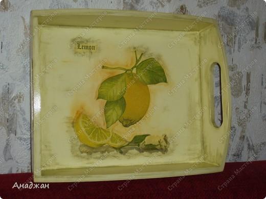 """Набор """"Лимонное наслаждение"""" Основа дерево и стекло. Салфетка. Акриловые краски. Пастель. Фисташковый лак. фото 2"""