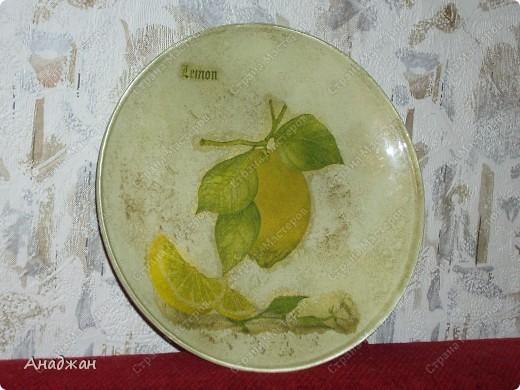 """Набор """"Лимонное наслаждение"""" Основа дерево и стекло. Салфетка. Акриловые краски. Пастель. Фисташковый лак. фото 3"""