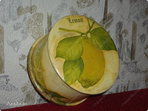 """Набор """"Лимонное наслаждение"""" Основа дерево и стекло. Салфетка. Акриловые краски. Пастель. Фисташковый лак. фото 5"""