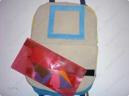 Летом я подарила дочке еще одну сумку - развивалочку. Она содержит в себе игры, интересные деткам с двух лет. Спереди я украсила сумку аппликацией из фетра. Дочка рассказывает и показывает на чем можно доехать к бабушке. фото 7