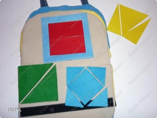 Летом я подарила дочке еще одну сумку - развивалочку. Она содержит в себе игры, интересные деткам с двух лет. Спереди я украсила сумку аппликацией из фетра. Дочка рассказывает и показывает на чем можно доехать к бабушке. фото 8