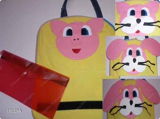 Летом я подарила дочке еще одну сумку - развивалочку. Она содержит в себе игры, интересные деткам с двух лет. Спереди я украсила сумку аппликацией из фетра. Дочка рассказывает и показывает на чем можно доехать к бабушке. фото 5