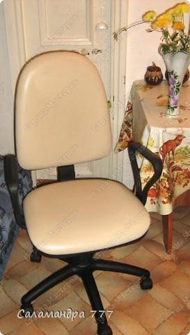 Чехол на стул я сшить решила, Чехлы я никогда не шила, Шарфик из травки служить был мне рад, Будет гламурный у стула наряд!!! фото 2