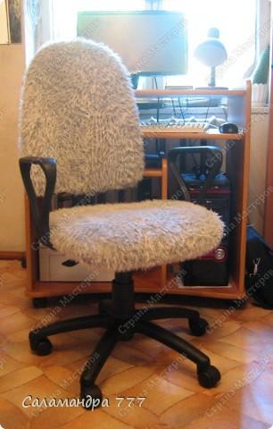 Чехол на стул я сшить решила, Чехлы я никогда не шила, Шарфик из травки служить был мне рад, Будет гламурный у стула наряд!!! фото 15