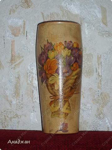 """Панно """"Корзина изобилия"""" Основа дерево, салфетка, подрисовка акриловыми красками, пастель. 2-х шаговый кракелюр, затирка золото. фото 6"""