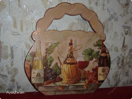 """Панно """"Корзина изобилия"""" Основа дерево, салфетка, подрисовка акриловыми красками, пастель. 2-х шаговый кракелюр, затирка золото. фото 2"""