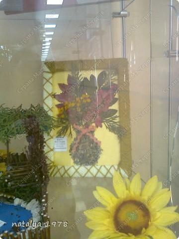 Такой осенний букет сделали с сыном в садик. Рамочку сделали из старой обложки,вырезали и обмотали нитками.Для букета использовали сухие листья и цветы. фото 4