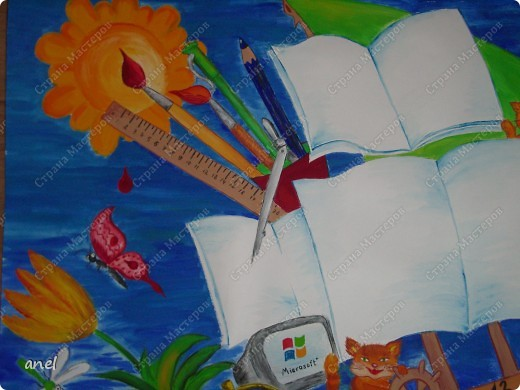 Нашей любимой школе 14 октября исполнится 60 лет,как поздравить?Решила нарисовать яркий плакат,что то подобное я видела в интернете,идея понравилась.Надеюсь деткам понравится.А паруса подпишут уже в школе. фото 5