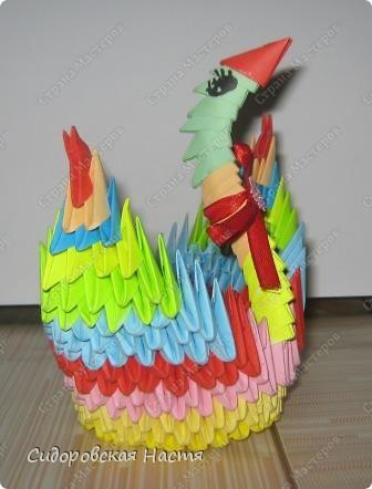 Моя лебедушка.Сделана по МК Татьяны Николаевны Просняковой http://stranamasterov.ru/technic/swan Делала модульное оригами в первый раз, прошу, не судите строго. фото 2