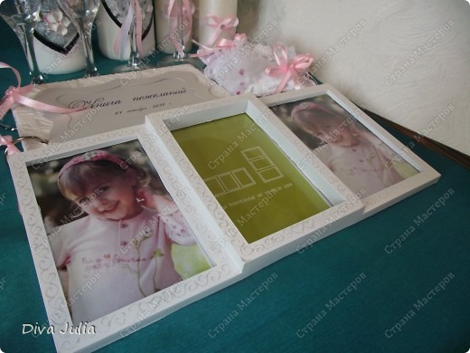 Второй свадебный набор (бутылки, бокалы, подушечка, свечи, альбом, рамка) фото 6