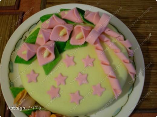Первый мастичный тортик,да и вообще первый,так ка раньше не пекла. Коржи бисквитные,пропитанные сиропом,мастика из маршмеллоу. фото 2