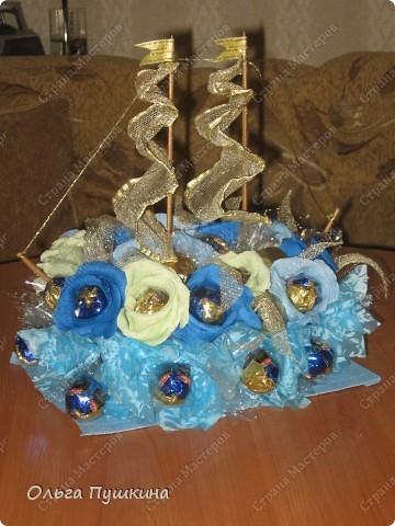 кораблик из конфет