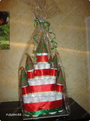 Подарок на крестины для девочки. Ушло 60 подгузников. Высота без упаковки около 60 см. фото 2