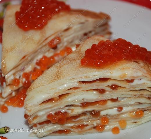 Блинный тортик с икрой фото 7